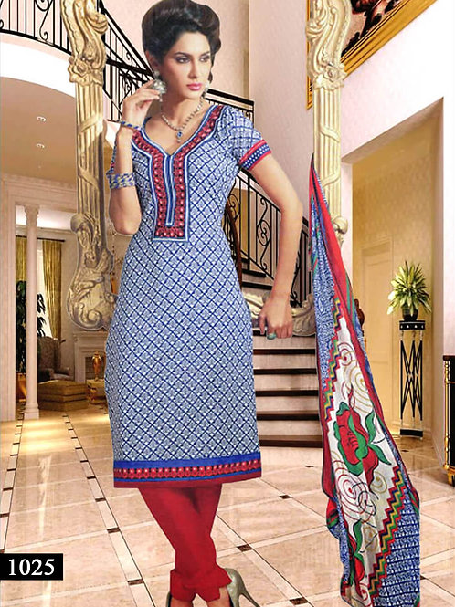 1025 Blue and White Designer Straight Suit