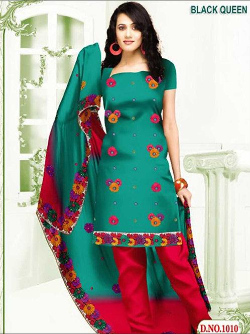 1010 Peacock Green and Dark Pink Cotton Salwar Suit