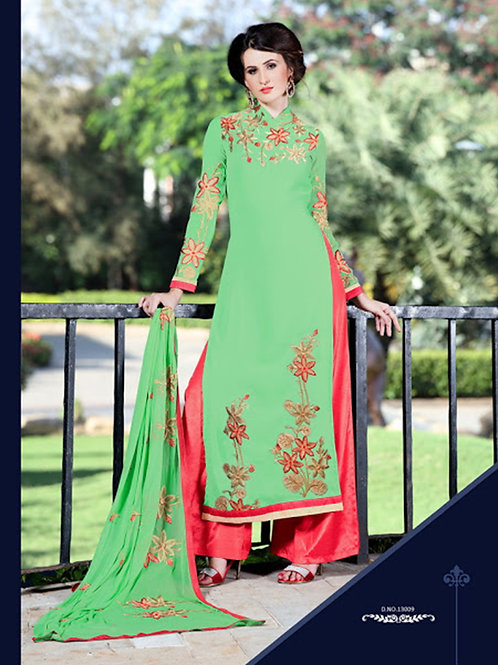 13009DullGreen and Red Embroidered Georgette Party Wear Palazzo Suit