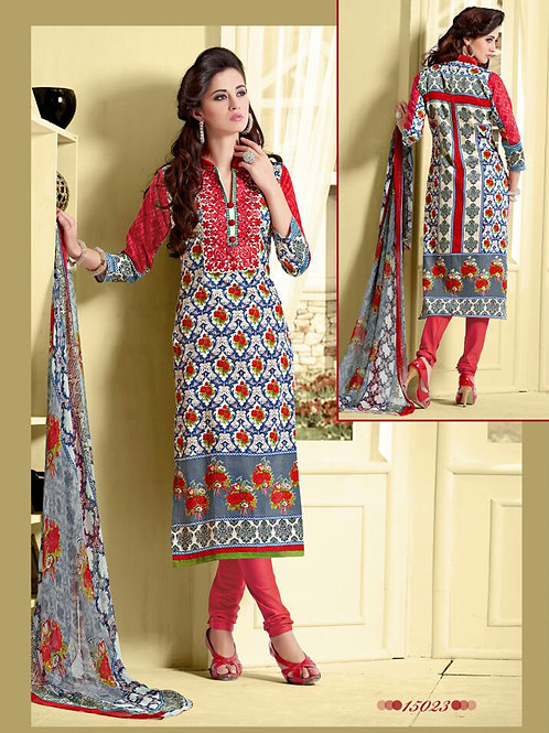 15023 Red and Multicolor Cotton Satin Straight Suit