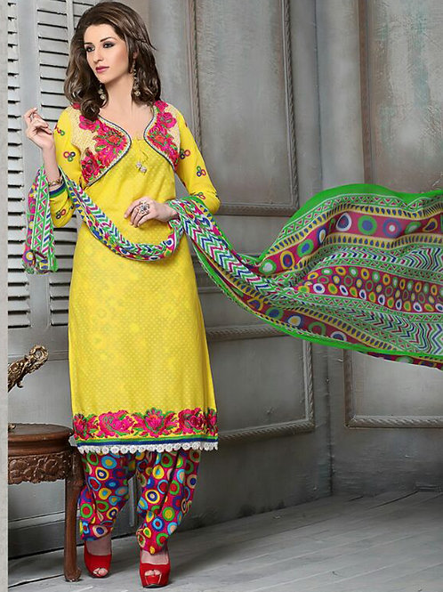 06Yellow and Multicolor Cotton Jacquard Salwar Suit