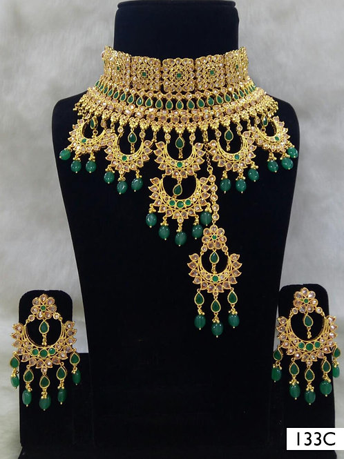 133C Green Bridal Wear Necklace Set With Maang Tika