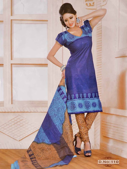 110 Blue Printed Salwar Suit