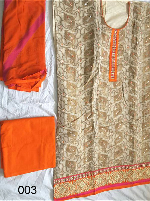 003 Beige and Orange Designer Salwar Suit