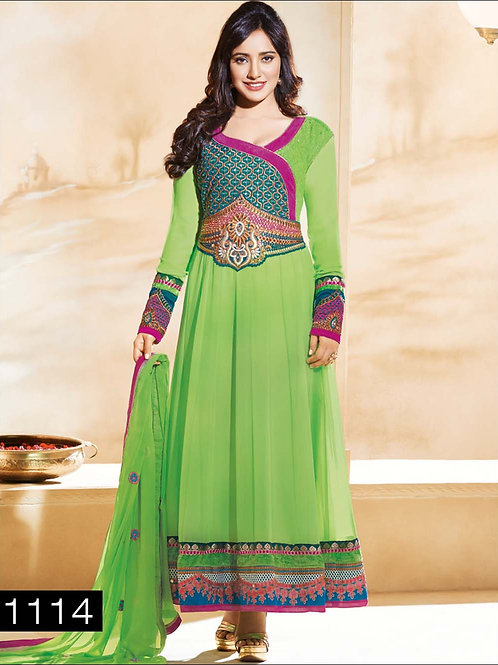 1114 Light Green and Pink Anarkali Suit