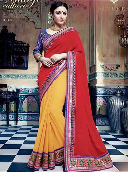 1439Red and Yellow Designer Georgette Saree