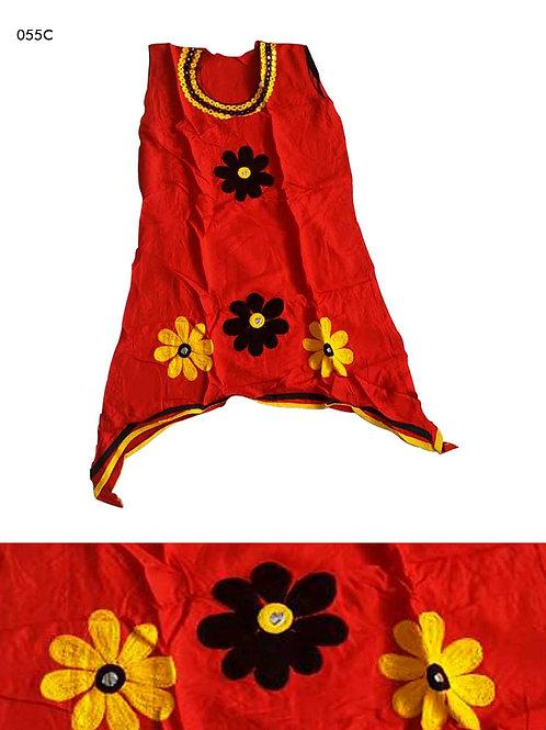 055C Red Designer Cotton Kurtis