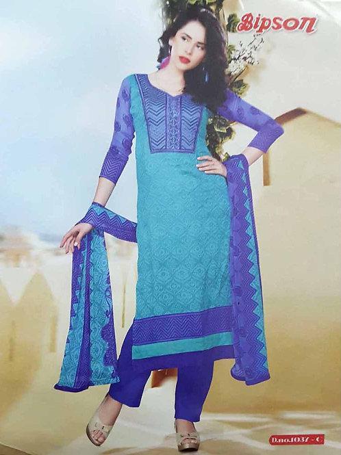 1037C Firozi Blue Cotton Straight Suit