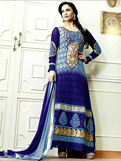 10601SkyBlue and NavyBlue Georgette Straight Suit
