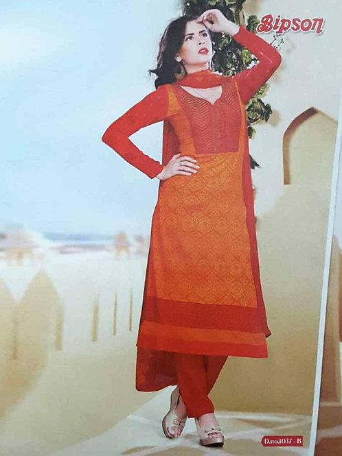 1037B Dark Orange Cotton Straight Suit