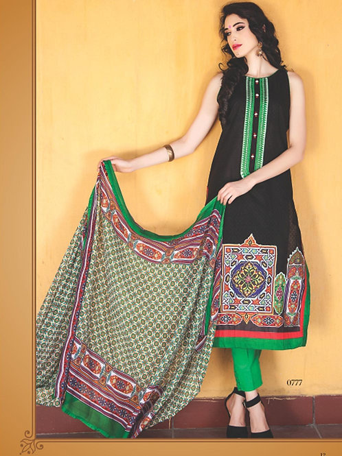0777B Black and Green Cotton Jacquard Straight Suit