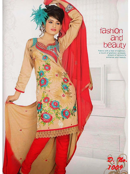 1009Burlywood and Red Georgette Chudidar Suit