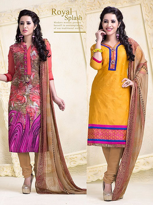 18004 Designer Multicolor and Yellow Salwar Suit