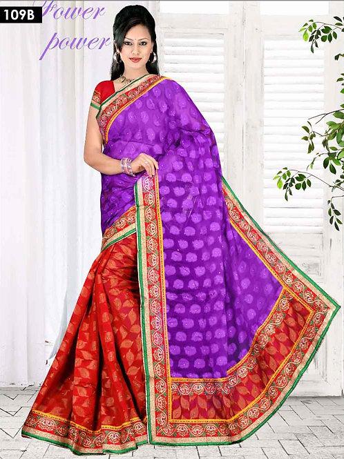 109B Purple and Red Designer Saree