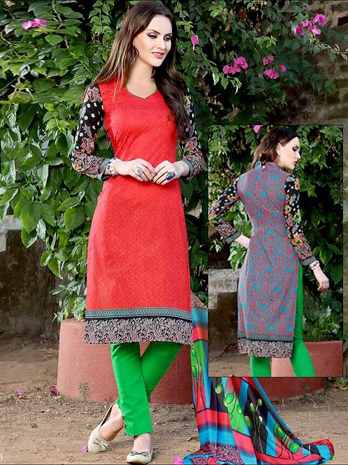 003Red and Black Printed Pure Cotton Long Concept Daily Wear Salwar Suit