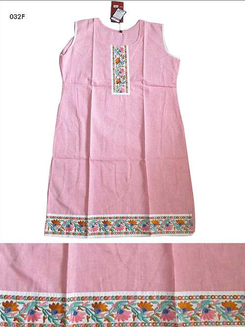032F Pink Designer Cotton Kurtis