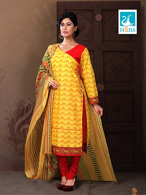 12Yellow and Red Cotton Satin Party Wear/Daily Wear Designer Suit