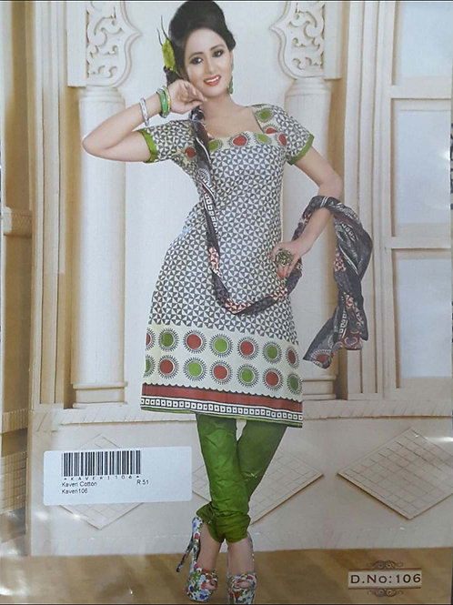 106 White and Gray Printed Salwar Suit