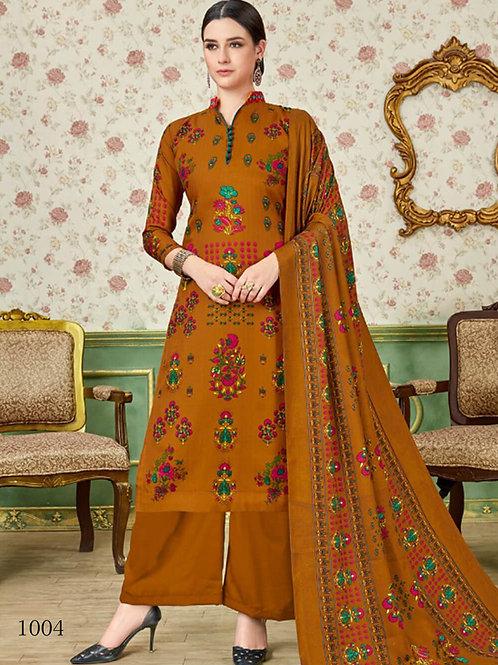 1004 Brown Printed Pashmina Plazo Suit
