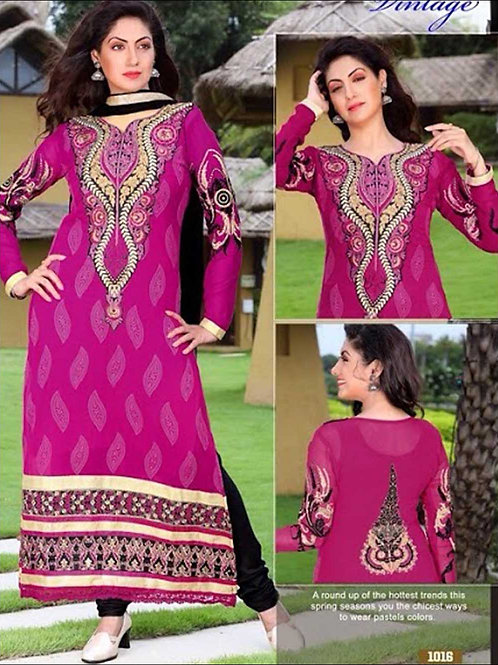 1016Magenta and Black Georgette Straight Suit