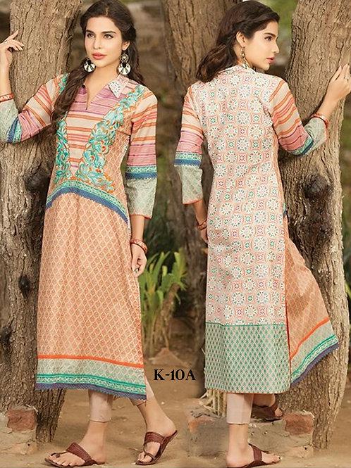 10A Designer Pakistani UnStitched Kurti