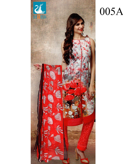 005A white and Red Lawn Cotton Chudidar Suit