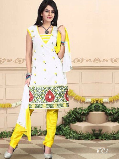 1002 White and Yellow Daily Wear Chanderi Salwar Suit