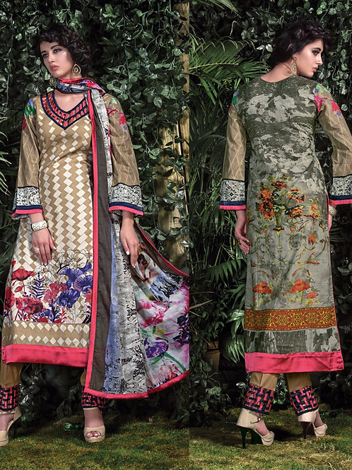 06 Light Brown Cream and Multicolor Straight Suit