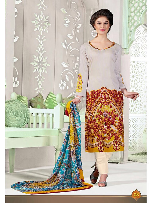 08 Off White and Red Satin Cotton Straight Salwar Suit