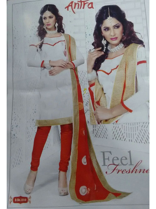 1010White and Red Daily Wear Brasso Salwar Suit