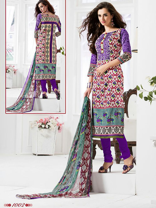 1002Multicolor and Purple Daily Wear Satin Cotton Straight Suit