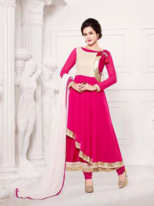 10087BrightPink and White Party Wear Georgette Anarkali Suit
