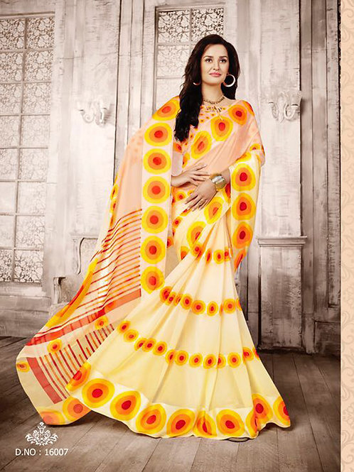 16007Crean and TurmericYellow Exclusive Function Wear Georgette Saree