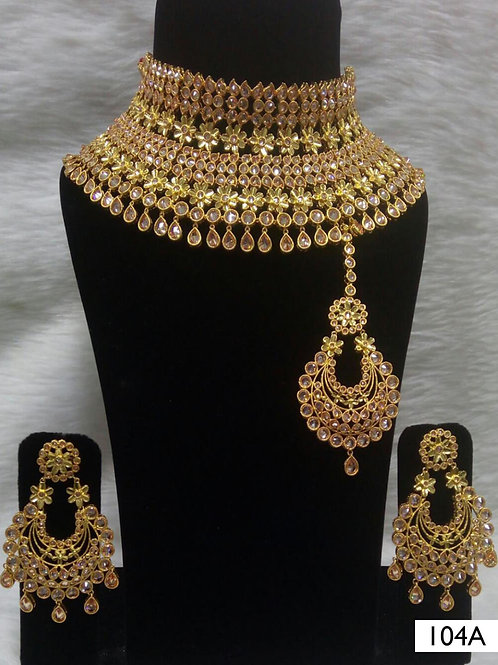 104A Golden Bridal Wear Necklace Set With Maang Tika