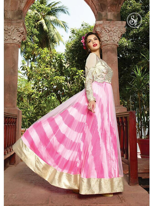 18006Ivory and Pink Georgette or Net Designer Suit