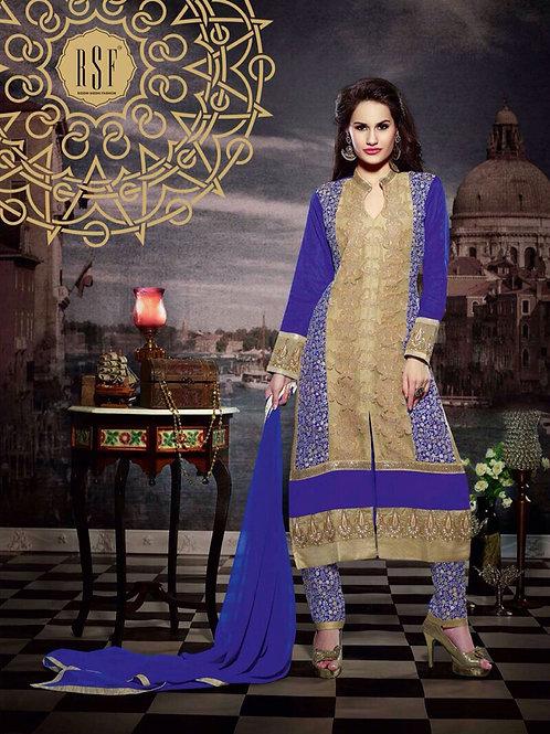 10111 Sandy Brown and Purple Blue Faux Georgette Designer Suit