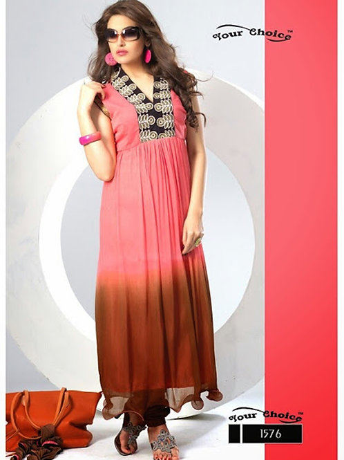 1576 Carrot Pink and Brown Chiffon Anarkali Suit