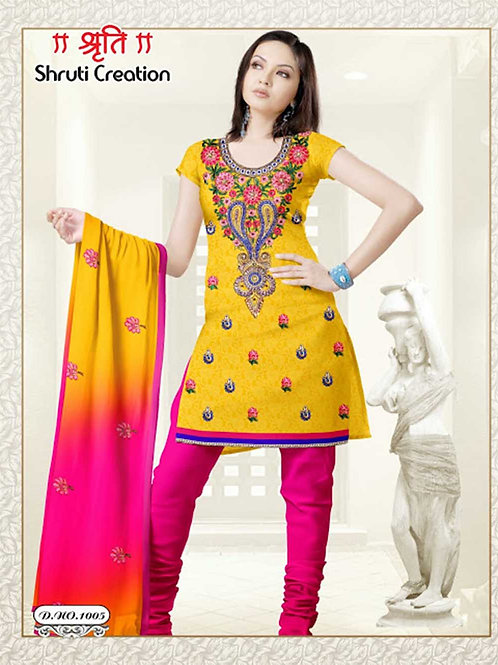1005 Yellow and Magenta Georgette Jacquard Dress Material