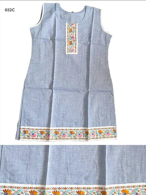 032C Steel Blue Designer Cotton Kurtis