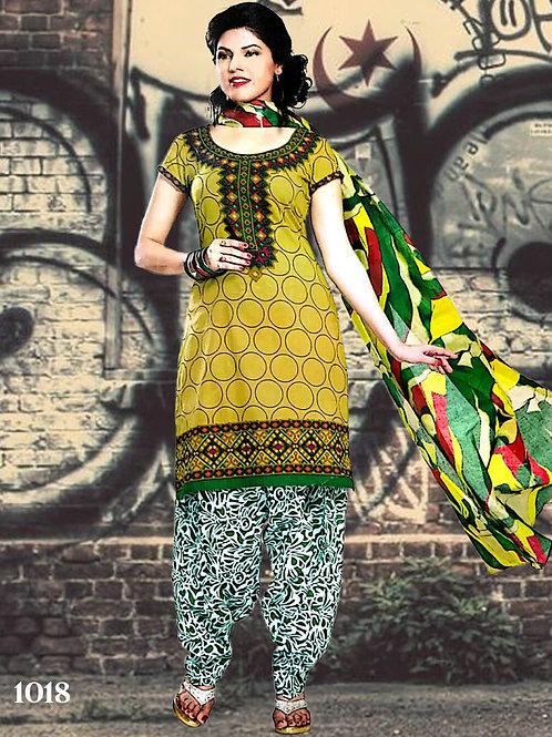 1018 Olive Designer Patiala Suit