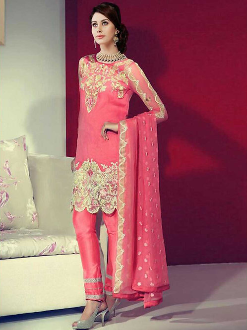 12003Pink and Beige Party Wear Georgette Pakistani Suit