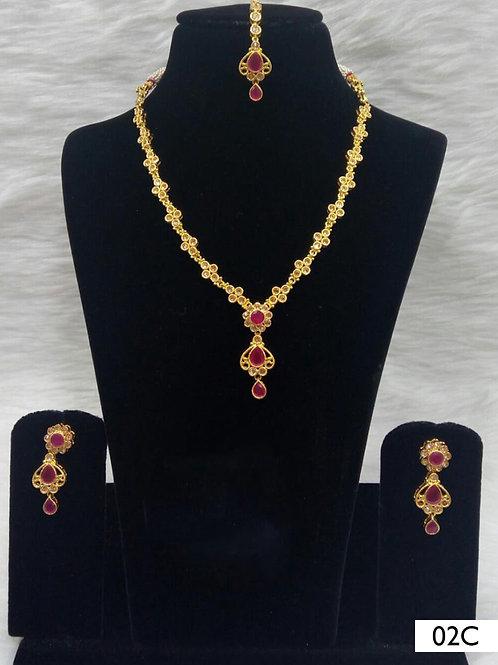 02C Red Diamond Work Necklace Set with Maang Tika