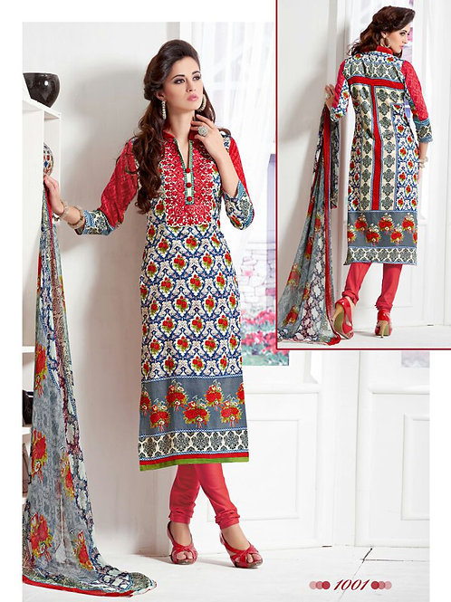 1001Multicolor and Red Daily Wear Satin Cotton Straight Suit