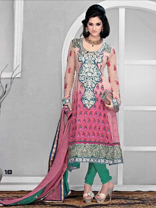 18 Pink Designer Anarkali Suit