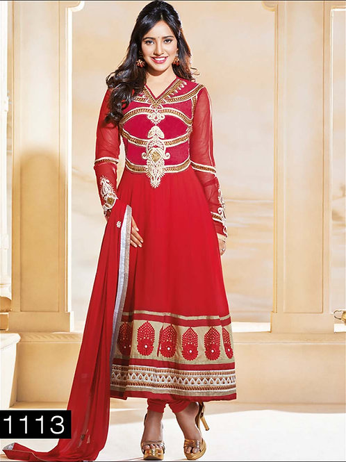 1113 Red and Golden Anarkali Suit