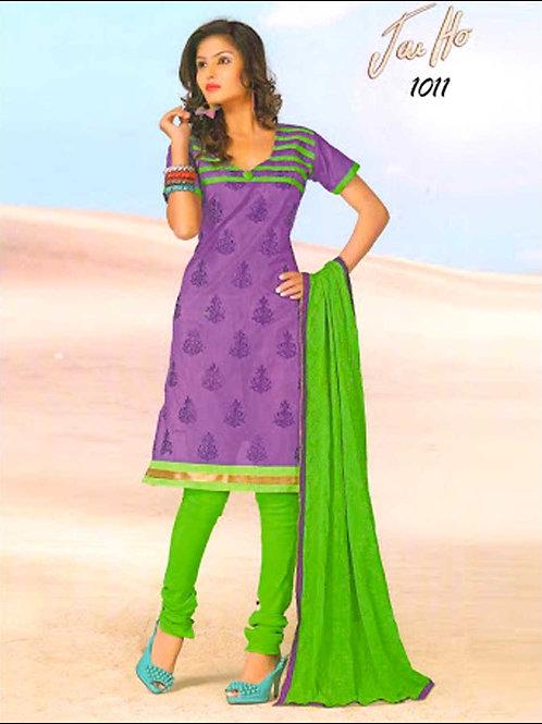 1011Purple and ParrotGreen Chanderi Chudidar Suit