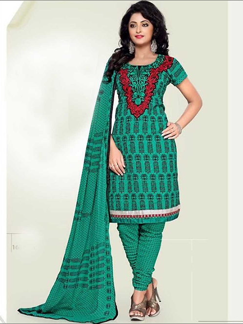 1682ARed and SeaGreen Cotton Dress Material