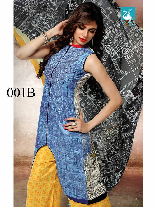 001B SkyBlue and Yellow Lawn Cotton Chudidar Suit