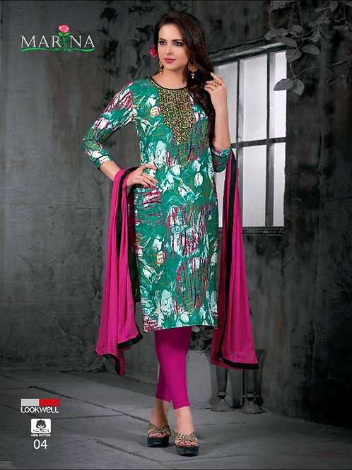 04 Sea Green and Multicolor Printed Straight Suit