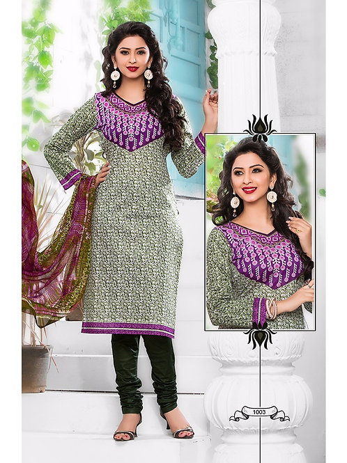 1003Purple and MehandiGreen Cambric Cotton Daily Wear Straight Suit